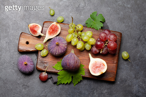 Ripe sweet figs and grapes