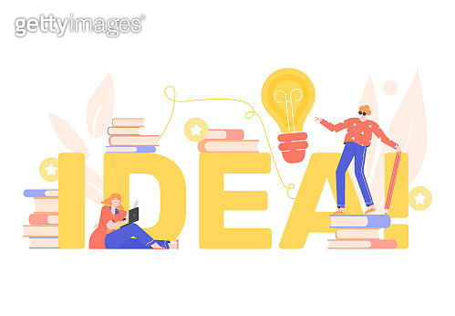 Concept illustration idea. Education and brainstorm. A man with a pencil, a woman with a laptop. Books and a bright light bulb. Vector flat illustration.