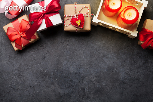 Valentines day gift boxes and candles