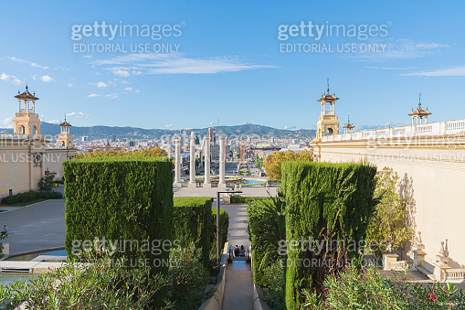Barcelona placa de espanya, the national museum with magic  fountain in afternoon at barcelona with in Barcelona, Catalonia, Spain