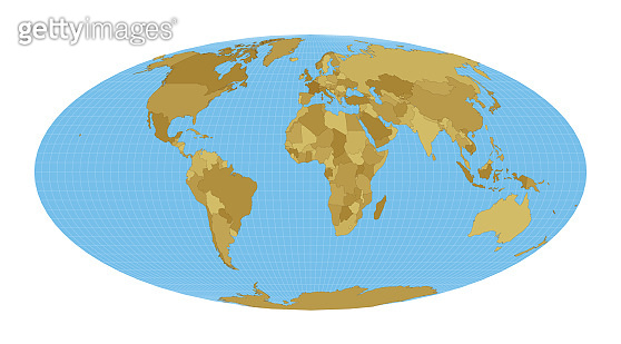 World Map. Equal-area, pseudocylindrical Mollweide projection.