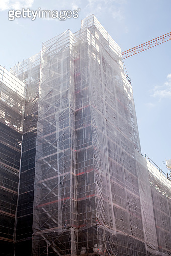 Large scaffolding on building facade