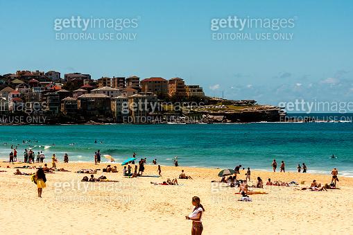 People relaxing on the Bondi Beach, Sydney, Australia