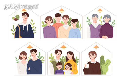 Illustration of various types of families.