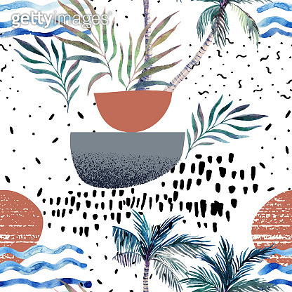 Art illustration with watercolor palm tree, doodle, grainy grunge texture, geometric shapes in 80s, 90s minimal style