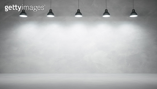 Concrete wall background with lights