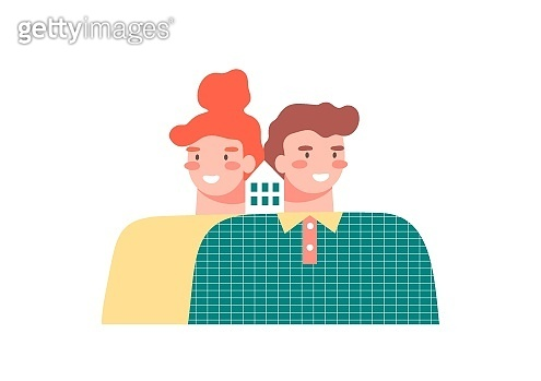 Happy couple buying or renting a house, dreaming about future home on white background. Real estate property, mortgage loan concept. Negative space illustration.