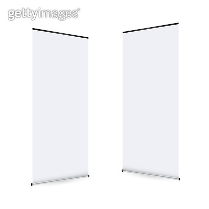 Blank roll-up banner display. Roll up banner stand. Vector stock illustration.