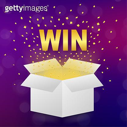 White win box on light background. Winner poster. Surprise present. Vector stock illustration.