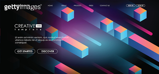 geometric 3d shapes, cubes and dynamic composition for brochure or web, futuristic template. Abstract colorful geometric isometric background.