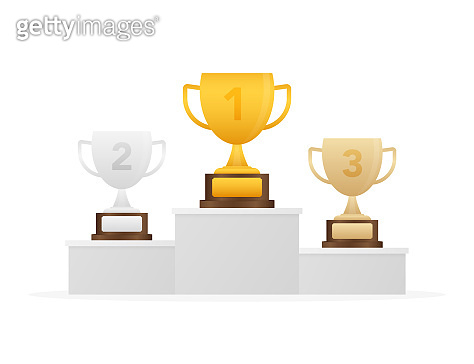 Gold, Silver and Bronze Trophy Cup on blue prize podium. Business or sporting achievements, the championship winner. Vector stock illustration.