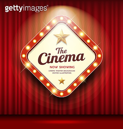 Cinema Theater sign shaped square light up on red curtain design