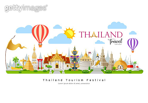 Thailand travel, beautiful building landmark on cloud and sky with Balloon background