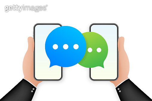 Chat Message Bubbles on smartphone screen. Social network. Messaging. Vector stock illustration.