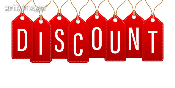 Discount Red Rounded Hangtags Sale. Price tag Vector stock illustration.
