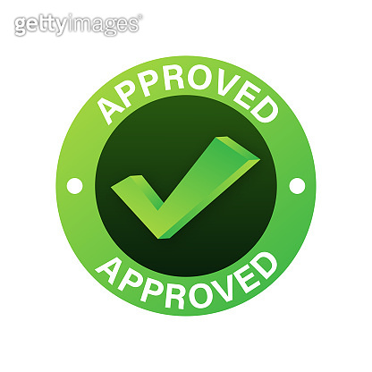 Approved medal. Round stamp for approved and tested product, software and services. Vector stock illustration.