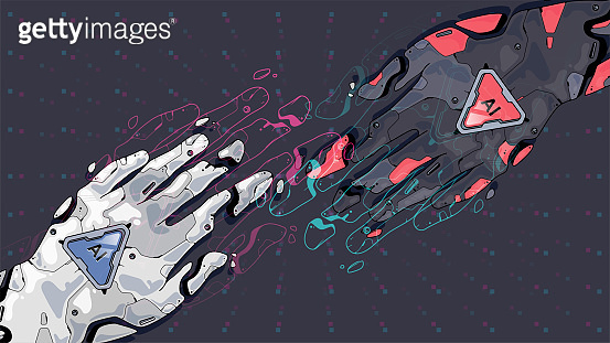 Vector art style robot touching hands. Futuristic concept for artificial intelligence and virtual world. digital futuristic technology concept.