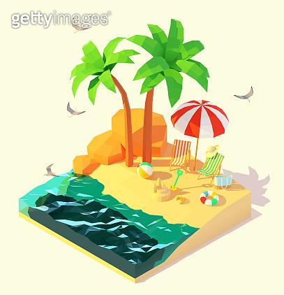 Vector isometric summer beach holidays