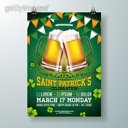 Saint Patricks Day Party Flyer Illustration with Beer, Flag and Clover on Green Background. Vector Irish Lucky Holiday Design for Celebration Poster, Banner or Invitation.
