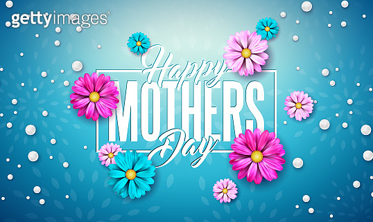 Happy Mother's Day Greeting Card Design with Flower and Typography Letter on Blue Background. Vector Celebration Illustration Template for Banner, Flyer, Invitation, Brochure, Poster.