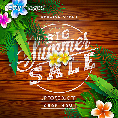 Big Summer Sale Design with Typography Letter and Exotic Palm Leaves on Vintage Wood Background. Tropical Vector Special Offer Illustration with Coupon, Voucher, Banner, Flyer, Promotional Poster, Invitation or Greeting Card.
