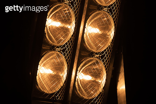 Lighting ramp with powerful spotlights for creating artificial lighting when working in the theater, film studio