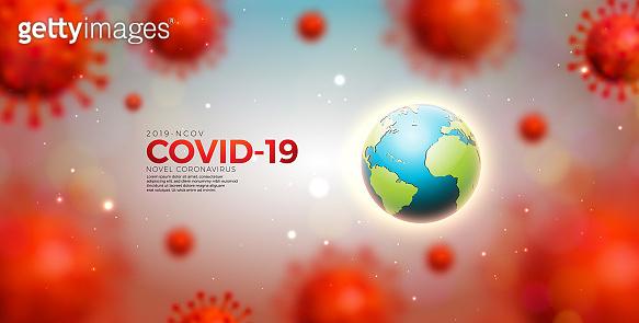 Covid-19. Coronavirus Epidemic Design with Virus Cells and Earth on Light Background. Vector 2019-ncov Corona Virus Illustration Template on Dangerous SARS Outbreak Theme for Banner or Flyer.