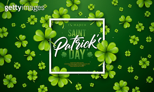 Saint Patrick's Day Design with Clover Leaf on Green Background. Irish Beer Festival Celebration Holiday Illustration with typography and Shamrock for Greeting Card, Party Invitation or Banner.