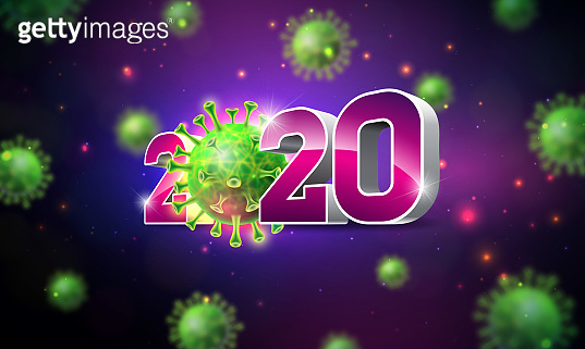 2020 Stop Coronavirus Design with Falling Covid-19 Virus Cell on Dark Background. Vector 2019-ncov Corona Virus Outbreak Illustration. Stay Home, Stay Safe, Wash Hand and Distancing.