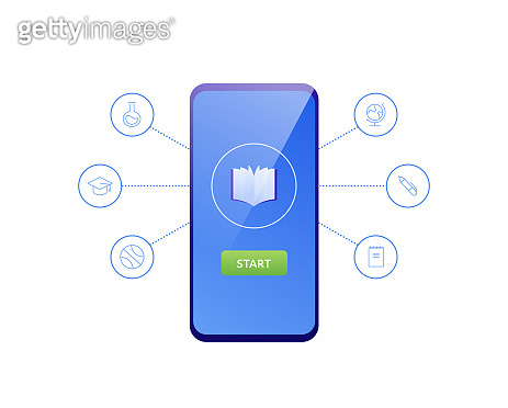 Online education mobile web app concept. Vector flat illustration. Smartphone with book icon and start course button on device screen. Design for elearning banner, infographic, library.