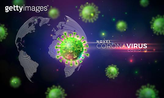 Covid-19. Coronavirus Outbreak Design with Virus Cell in Microscopic View on World Map Background. Vector 2019-ncov Corona Virus Illustration on Dangerous SARS Epidemic Theme for Banner.