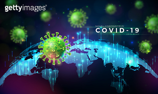 Covid-19. Coronavirus Outbreak Design with Virus Cell in Microscopic View on World Map Background. Vector 2019-ncov Corona Virus Illustration on Dangerous SARS Epidemic Theme for Banner.