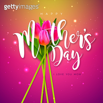 Happy Mother's Day Greeting Card Design with Tulip Flower and Typography Letter on Pink Background. Vector Celebration Illustration Template for Banner, Flyer, Invitation, Brochure, Poster.
