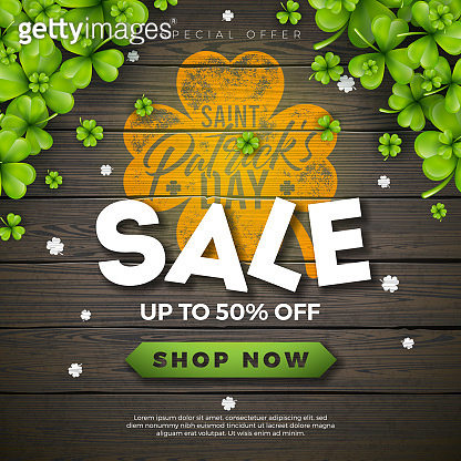 St. Patrick's Day Sale Design, with Green Clover and Typography Letter on Vintage Wood Background. Vector Irish Lucky Holiday Design Template for Coupon, Banner, Voucher or Promotional Poster.