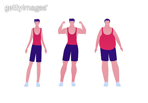 Man body weight concept, Vector flat person illustration set. Collection of males in sport outfit isolated on white. Slim, overweight, strong muscular. Front view. Design for banner, infographic