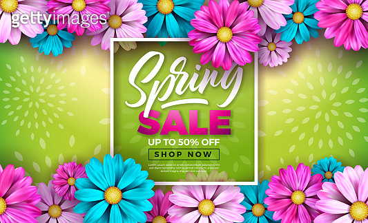 Spring Sale Design Template with Colorful Flowers and Typography Letter on Green Background. Vector Special Offer Illustration for Coupon, Banner, Voucher or Promotional Poster.