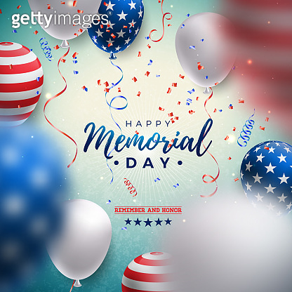 Memorial Day of the USA Vector Design Template with American Flag Air Balloon and Falling Confetti on Shiny Blue Background. National Patriotic Celebration Illustration for Banner, Greeting Card, Invitation or Holiday Poster.