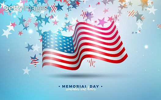 Memorial Day of the USA Vector Design Template with American Flag on Falling Colorful Star Background. National Patriotic Celebration Illustration for Banner, Greeting Card, Invitation or Holiday Poster.