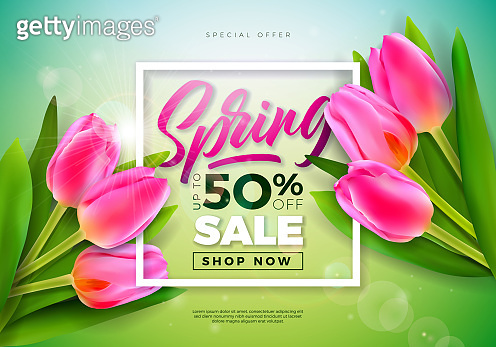 Spring Sale Design Template with Tulip Flowers and Typography Letter on Green Background. Vector Special Offer Illustration for Coupon, Banner, Voucher or Promotional Poster.