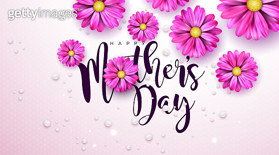 Happy Mother's Day Greeting Card Design with Flower and Typography Letter on Pink Background. Vector Celebration Illustration Template for Banner, Flyer, Invitation, Brochure, Poster.