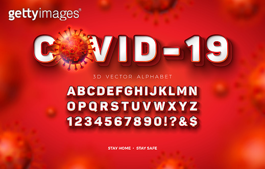 Vector 3d Alphabet Font with Frame and Shadow for Covid-19 Virus Outbreak on Red Background. Modern Coronavirus Typeface Design Collection with Layered Separated ABC, Number and Special Characters..
