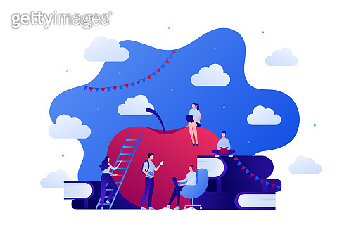 Education as ladder of success concept. Vector flat person illustration. Team of male and female student with apple, stack of books and laptop. Design for college and school web, banner, infographic