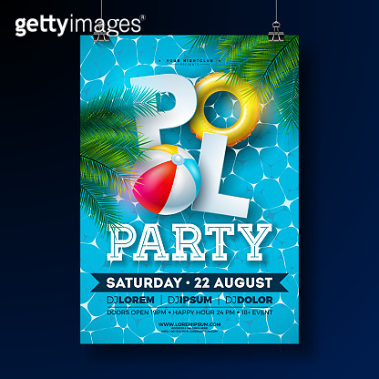 Summer Pool Party Poster Design Template with Palm Leaves, Water Beach Ball and Float on Blue Underwater Ocean Background. Vector Holiday Illustration for Banner, Flyer, Invitation, Poster.