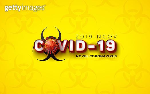 Covid-19. Novel Coronavirus Concept Design with Virus Cell and Biological Danger Symbol on Yellow Pattern Background. Vector 2019-nCoV Corona Virus Illustration on Dangerous SARS Epidemic Theme.