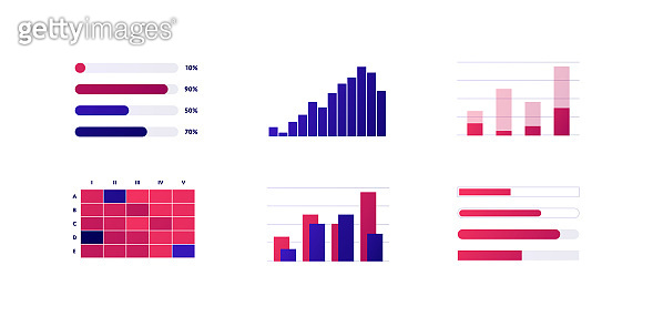 Infographic element collection. Vector flat color illustration set. Column bar chart isolated on white. Histogram and process diagram. Design for ui, science poster, marketing, presentation