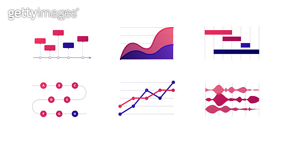 Infographic element collection. Vector flat color illustration set. Dotted line, stacked area, gantt chart on white. Process, timeline diagram. Design for ui, science poster, marketing, presentation