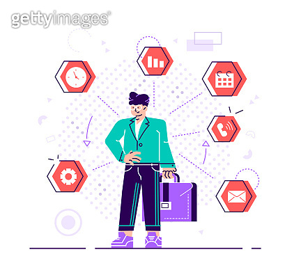 Businesswoman is standing and holding briefcase