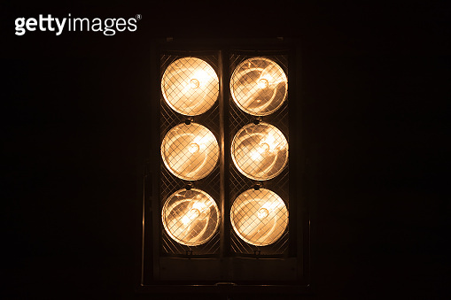 Lighting ramp with six powerful spotlights for theater lighting, cinematography and photography