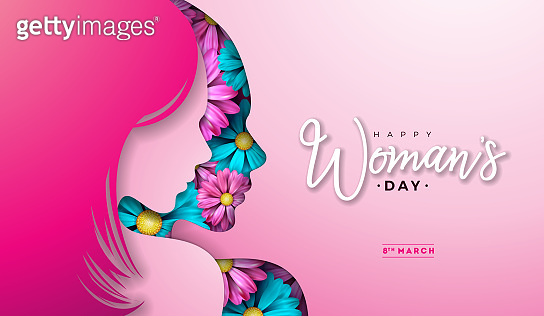 8 March. Womens Day Greeting Card Design with Young Woman Silhouette and Flower. International Female Holiday Illustration with Typography Letter on Pink Background. Vector Calebration Template.
