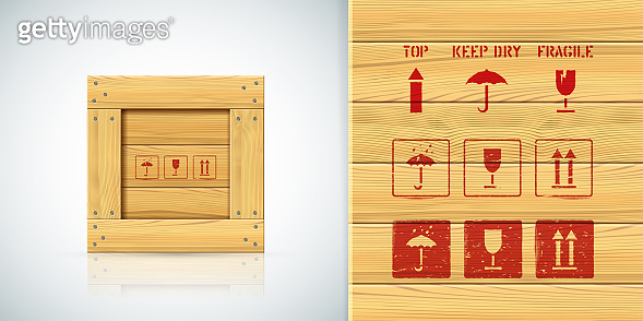 Handle with care vector stencils icon set for square wood crate